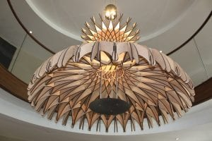 Carved wood chandelier at Union Place