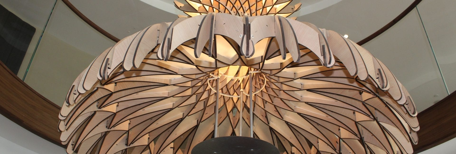 Close up of carved wood chandelier at Union Place