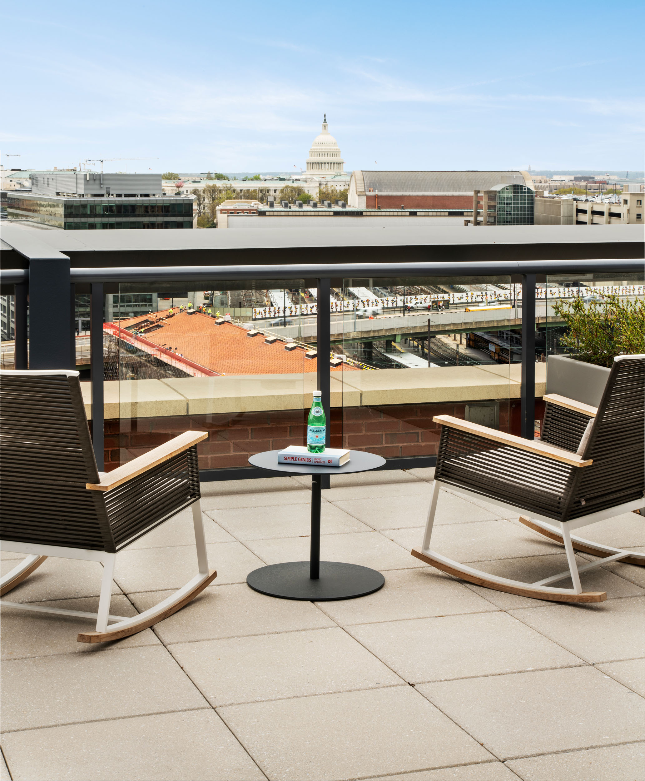 Rooftop terrace at Union Place with views of the Capitol