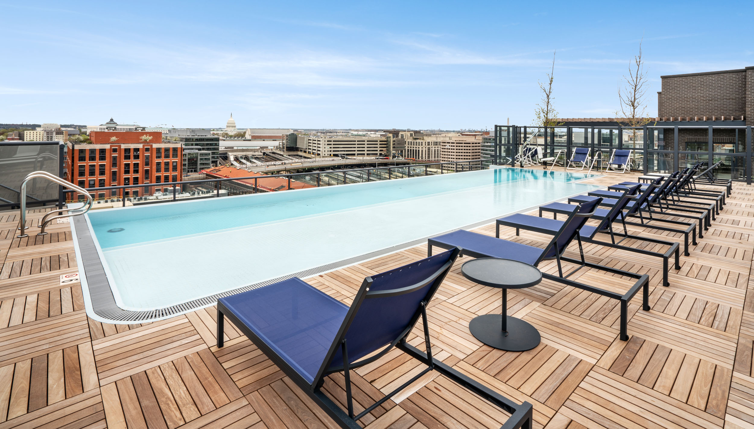 Rooftop at Union Place with infinity pool and views of the DC skyline