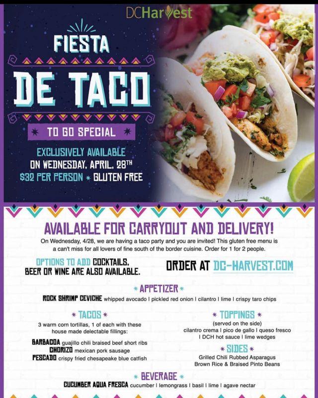 Enjoy @dcharvest fiesta detaco menu! Pickup/ Delivery on Wednesday 4/28. 😋 #DCEats #DCHarvest #nomadcustoms